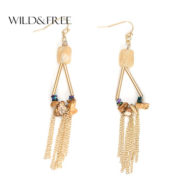 WILE & FREE Gold Alloy Tassel Drop Earrings With Natural Stone Beads Fashion Water Drop Pendant Hollow Long Dangle Earings Gift