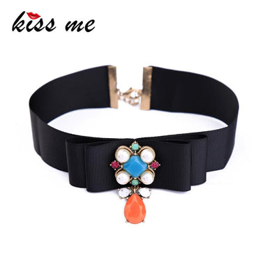 Wide Black Ribbon Choker Necklace kpop Resin Acrylic Flower Water Drop Collar Necklace Women Bijoux