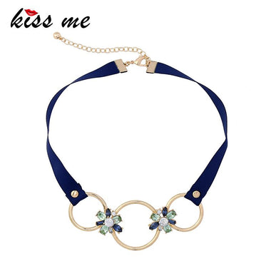 Short Ribbon Chain Round Flowers Choker Necklace Women Statement Necklace Vintage Jewelry