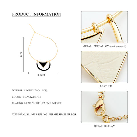 Fashion Alloy Choker Necklace for Women Black Beige Thread Gold Alloy Triangle Pendant Fashion Collar Necklace Jewelry
