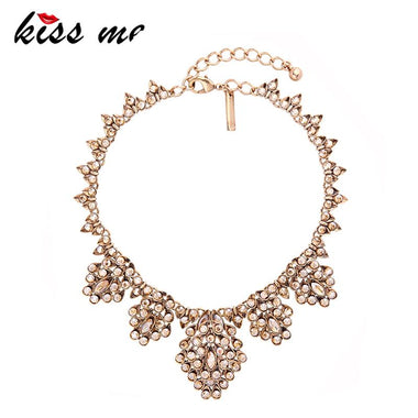 Unique Party Geometric Champagne Crystal Choker Necklace 2017 New Statement Necklace Fashion Jewelry