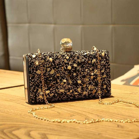 Image of Rania Black Crystal Evening Metal Clutch