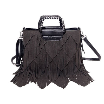 Image of Giselene Tassel Pu Leather Handbag