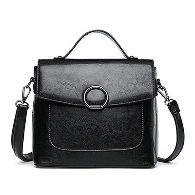 Sosthene Oil Leather Thread Top-handle Handbag