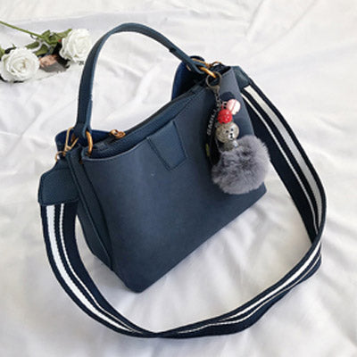 Elsebeth Nubuck Leather Handbag with Furball