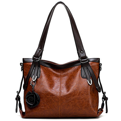 Image of Nelle Leather Flowers Shoulder Handbag