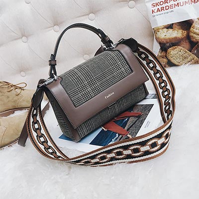 Image of Guyonne Plaid Patchwork Messenger Handbag