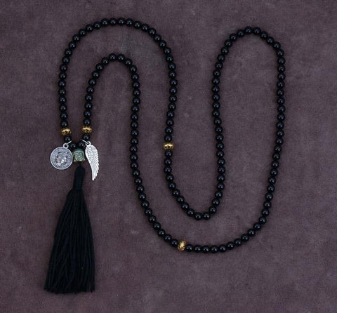 Image of Gozde Black Onyx Charm Beads Necklace