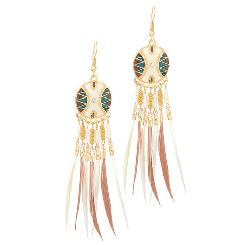 Cara Long Feather Drop Dangle Earrings