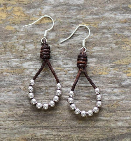 Image of Afton Silver Color Beads Dangle Earrings