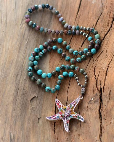Image of Tulaya Chrysanthemum Stone Starfish Pendant Necklace