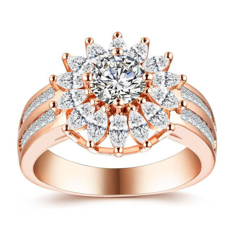 Women's White Gold & Rose Color Round AAA Zircon Wedding Rings for Women Wedding Jewelry accessories Bague Bijoux Size 5-12 H1041