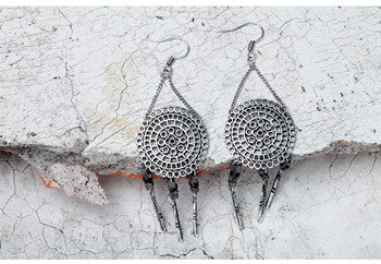 Image of Lenora Dream Catcher Pattern Tassel Earrings