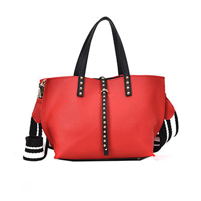 Gustavine Leather Bucket Patchwork Handbag