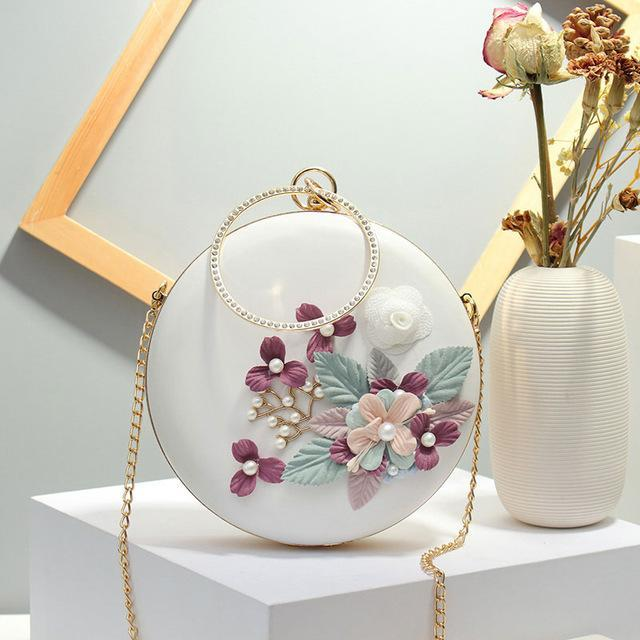 Ahan Circular Shaped Metal Beading Clutch