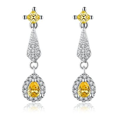 Women's Stud Earrings for Women White Gold Color Jewelry Yellow AAA zircon Boucle D'oreille Feather Wedding cute Brincos A142