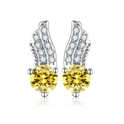 Image of Women's Stud Earrings for Women White Gold Color Jewelry Clear AAA zircon Boucle D'oreille Feather Wedding feather Brincos A163