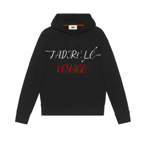J'ADORE LE VOYAGE 'AGAPE' BLACK HOODED SWEATSHIRT