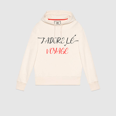 J'ADORE LE VOYAGE 'AGAPE' OFF WHITE HOODED SWEATSHIRT