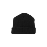 Triple Black Ribbed Beanie Hat