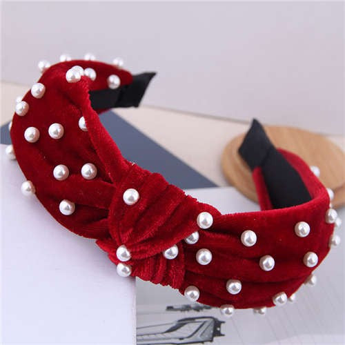 Pearl Velvet Headband Red