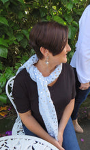 Load image into Gallery viewer, Ivys Blue & Silver Polka Dot Foil Scarf