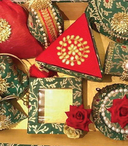 Mithai (candy) box and purses with gota applique embroidery