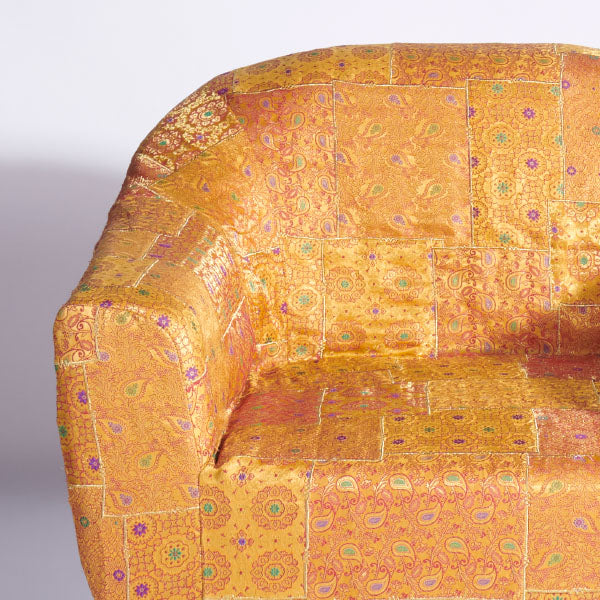 Yellow-Gold Benarasi Brocade Accent Slipcover