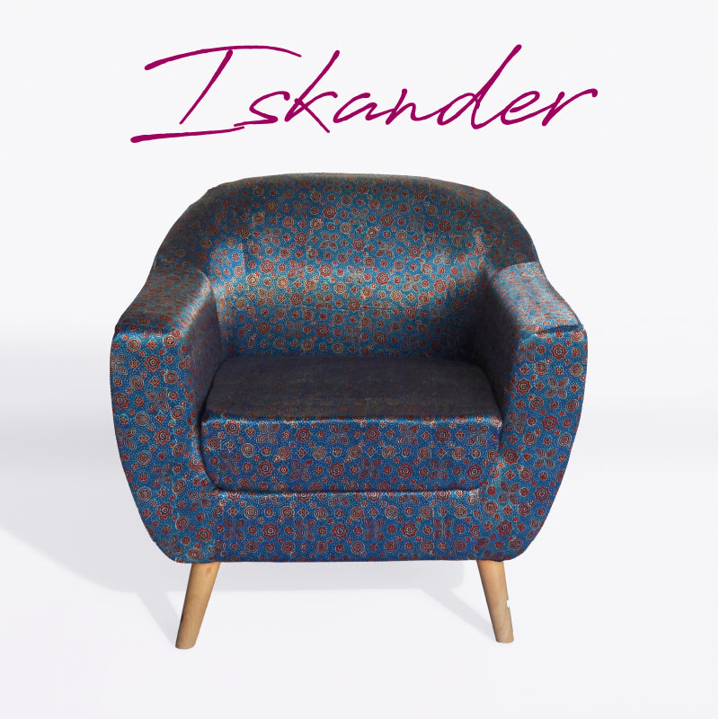 Floral Star-Patterned Ajrakh Accent Chair