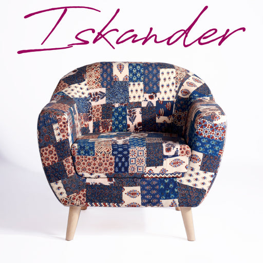 Red-Blue Banni Patchwork Accent Chair