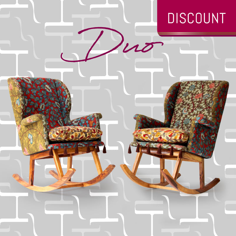 Duo of Teshoo Lama Rocking Chairs in Kalamkari