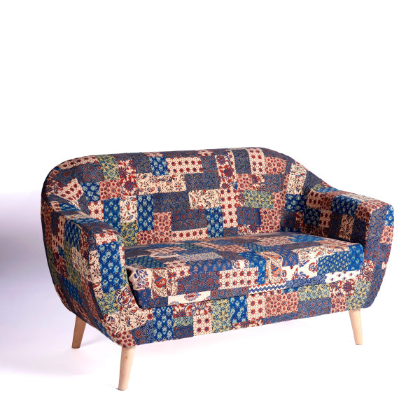 Red-Blue-Green Banni Patchwork 2-Seater Loveseat