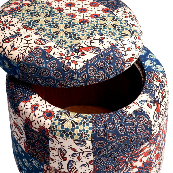 Red-Blue-Green Banni Patchwork Circular Storage Ottoman