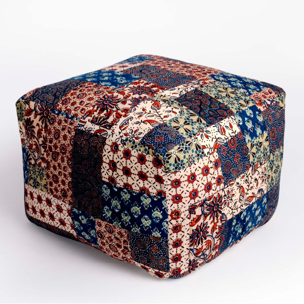 Red-Blue-Green Banni Patchwork Pouffe