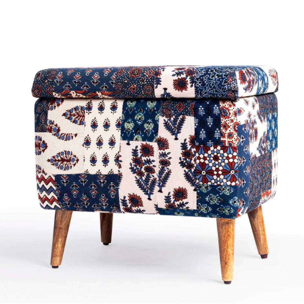 Red-Blue Banni Patchwork Rectangular Storage Ottoman