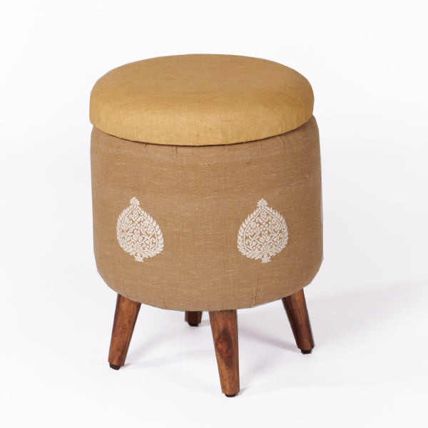Assam Muga Silk-Cotton Circular Storage Ottoman - Sihasn