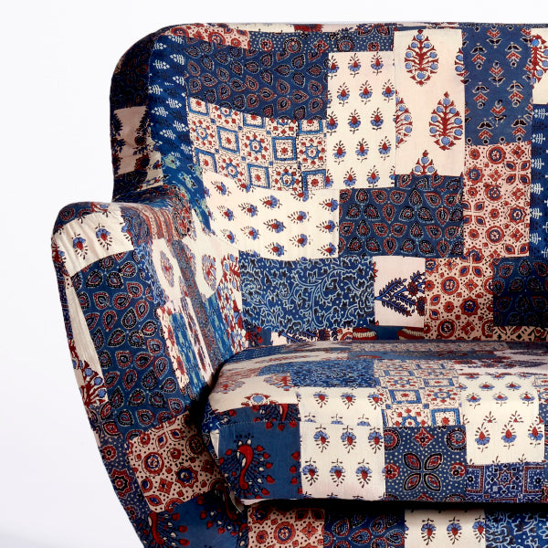 Red-Blue Banni Patchwork Armchair