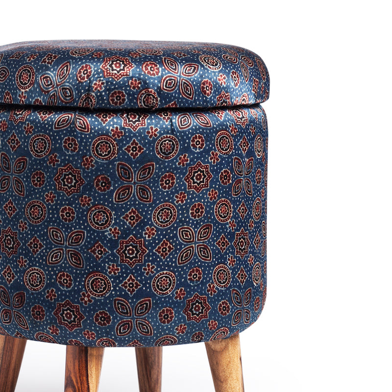 Floral Star-Patterned Ajrakh Circular Storage Ottoman