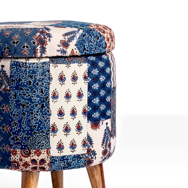 Red-Blue Banni Patchwork Circular Storage Ottoman