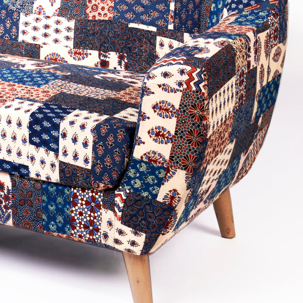Red-Blue Banni Patchwork 2-Seater Loveseat