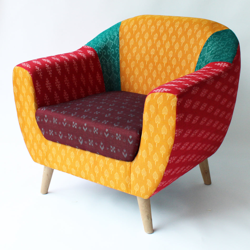 Duo of Iskander Accent Chairs in Multi-Coloured Ikat