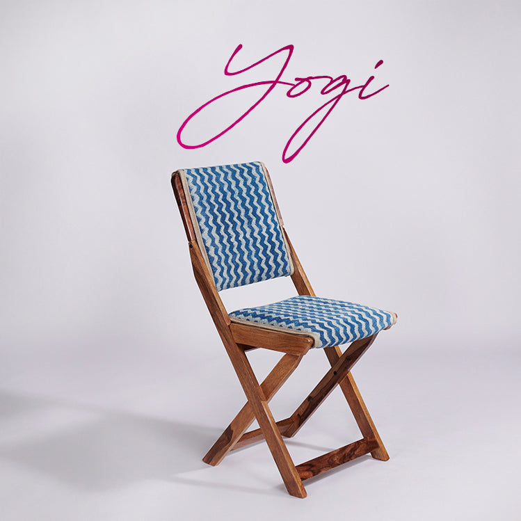 Zigzag Patterned Dhurrie Folding Chair