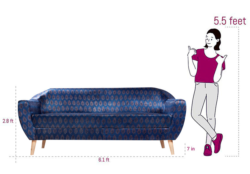Leaf-Patterned Ajrakh 3-Seater Sofa - Sihasn