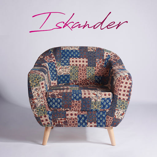 Red-Blue-Green Banni Patchwork Accent Chair
