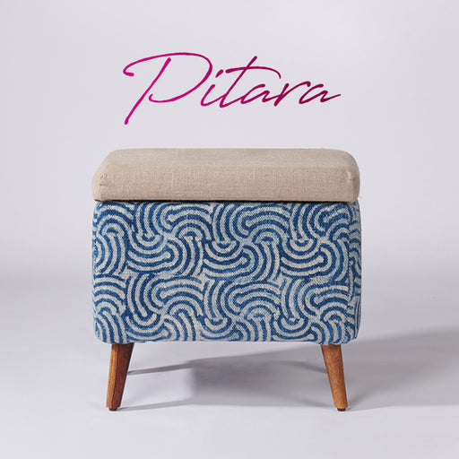 Spiral Patterned Dhurrie Rectangular Storage Ottoman