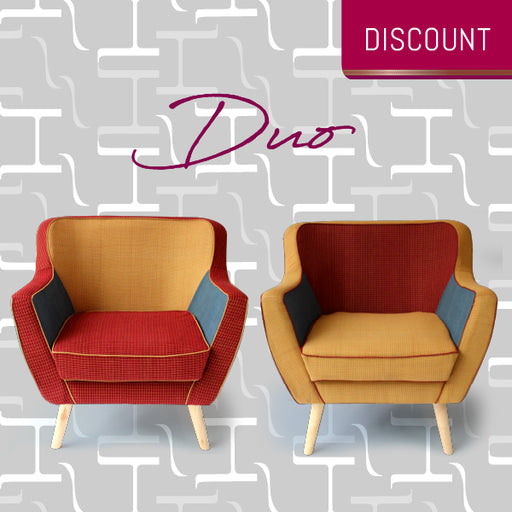 Duo of Majnun Armchairs in Multi-Coloured Telengana Cotton