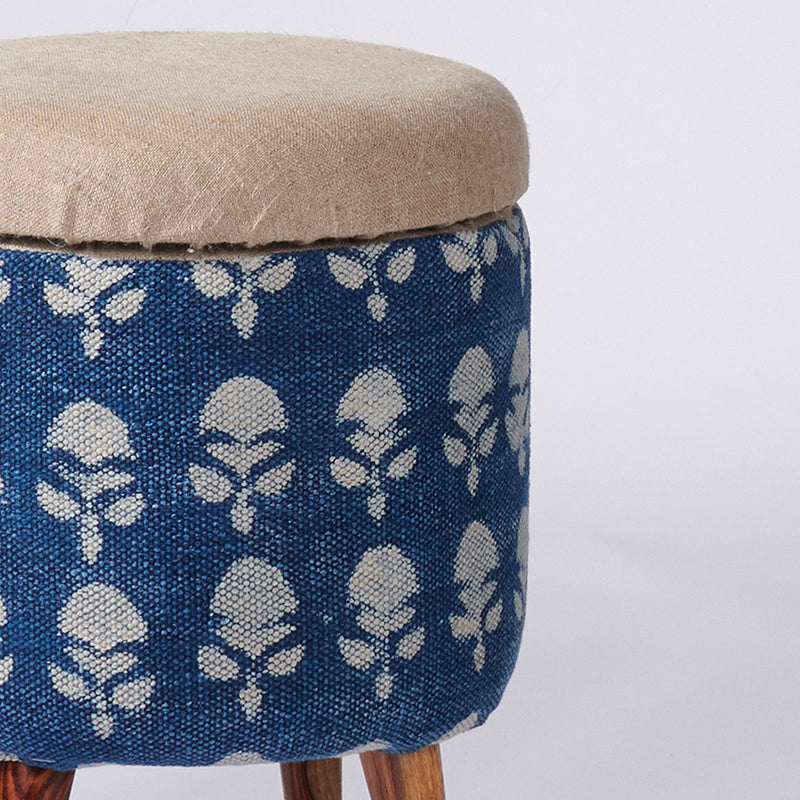 Floral Patterned Dhurrie Circular Storage Ottoman - Sihasn