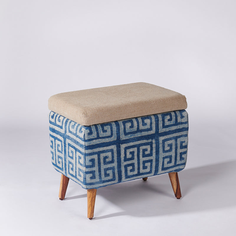 Maze Patterned Rectangular Storage Ottoman