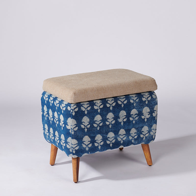 Floral Patterned Dhurrie Rectangular Storage Ottoman