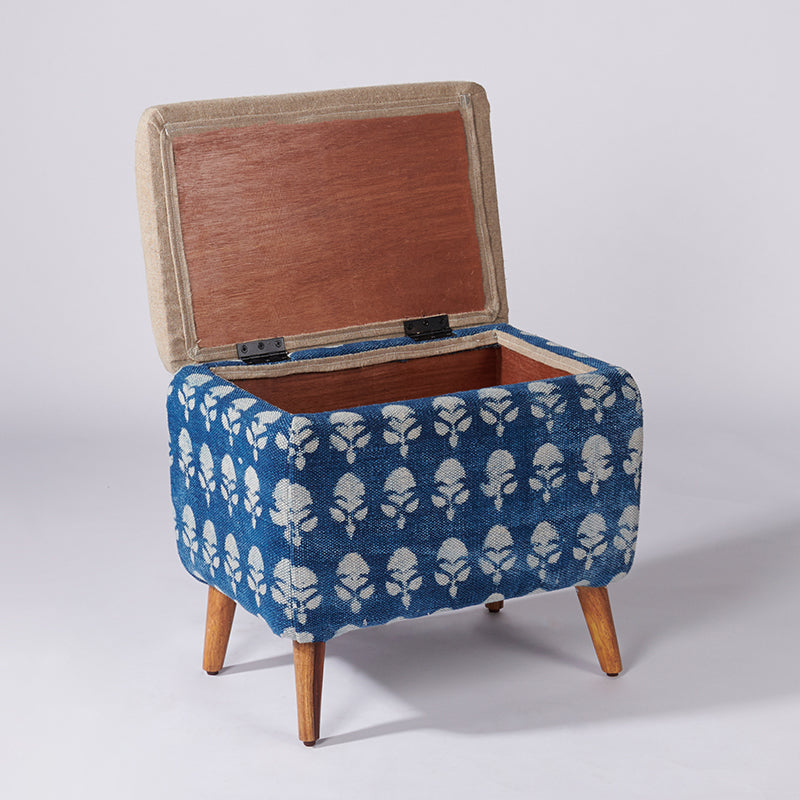 Floral Patterned Dhurrie Rectangular Storage Ottoman - Sihasn